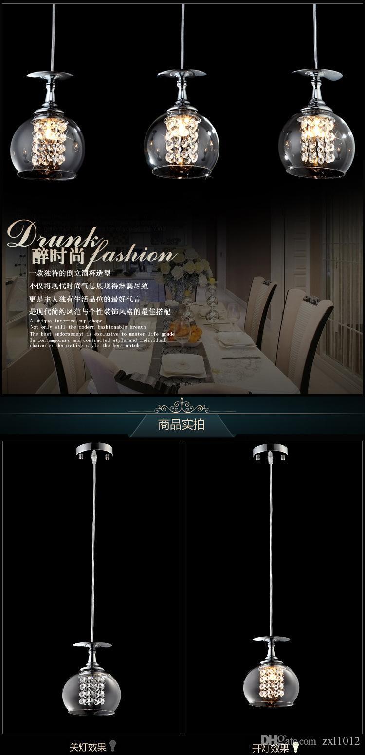 Modern Temizle Şarap Cam Kristal Kolye Lamba K9 Kristal Oturma odası Restoran Avize Işık Asılı Süspansiyon Işık Mavi Işık ile