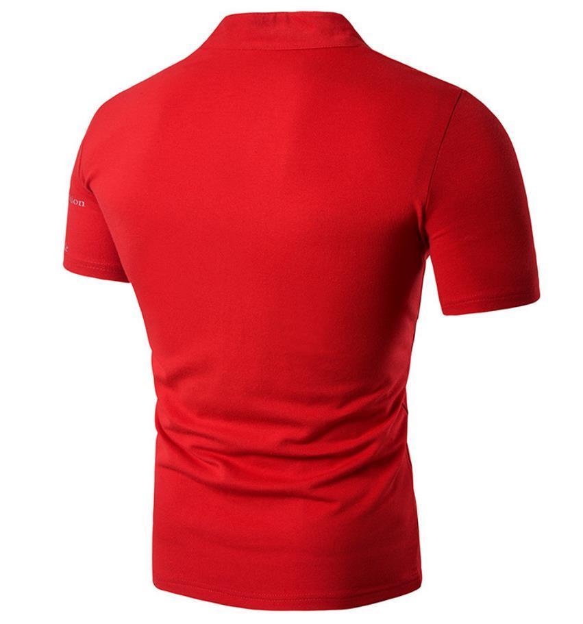 Maglietta della lettera della maglietta degli uomini di sport del pullover del manicotto del collo a manica corta del collo del collare di progettazione della stampa riflettente degli uomini della lettera floreale libera la nave