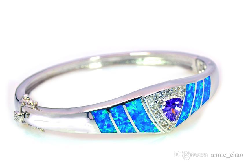 الجملة التجزئة الأزياء الجميلة الأزرق النار العقيق القلب أساور مجوهرات للنساء BNT1522006