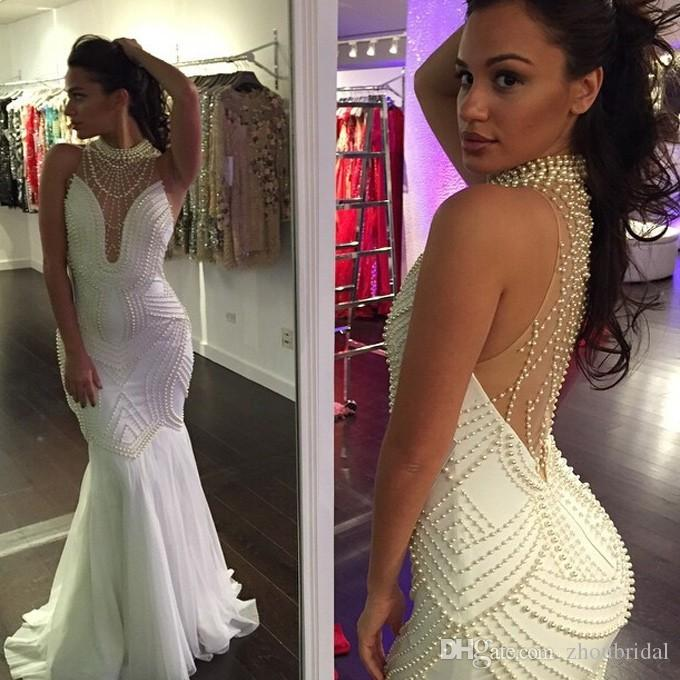 See Through 2016 Mermaid High Collar Chiffon Pearls White Sexy Long Women Prom Dresses Prom Gown Evening Dresses Evening Gown