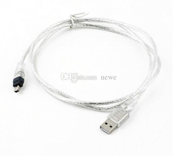 New 1.2m USB 2.0 Male To Firewire iEEE 1394 4 Pin iLink Adapter Cable Male To Male Cable Silver Transparent