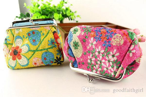 New Fashion Vintage embroidery flower coin purse canvas key holder wallet hasp small gifts bag clutch handbag Christmas gift