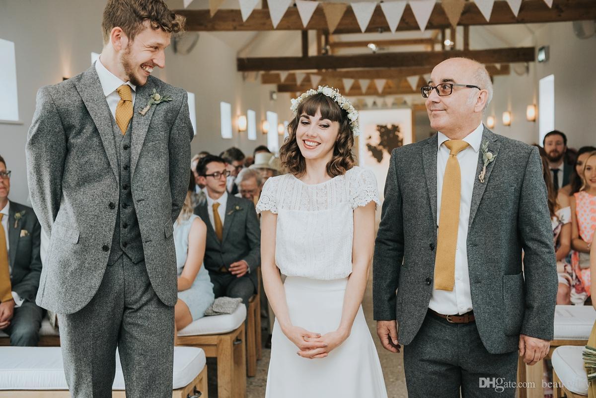 Wool Coat Pant Designs Brand Gray Tweed Suit Men Set Slim Fit Custom Wedding Suits Jacket Pants Blazer Tuxedo Custom Made
