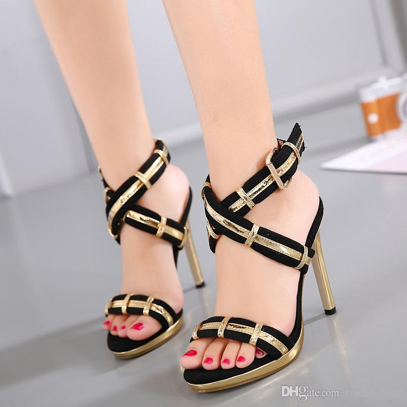 bd5ebf6ad25 Luxury Gold Black Cross Strap Sexy High Heels Pumps Women Prom Gown ...