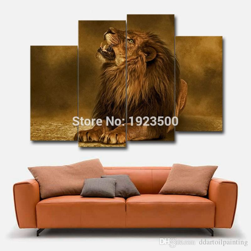 Wholesale Unframed Modern Lion Picture Painting on Canvas for Living Room Modular Unframed Wall Art Canvas African Animal Print