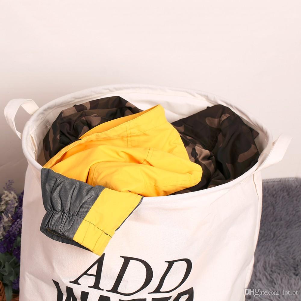 50 * 40cm Unique Dur Coton Pliable Linge À Lessive Vêtements Panier À Linge Sac Panier À L'environnement Panier De Rangement Vêtements 48 * 42 Cm