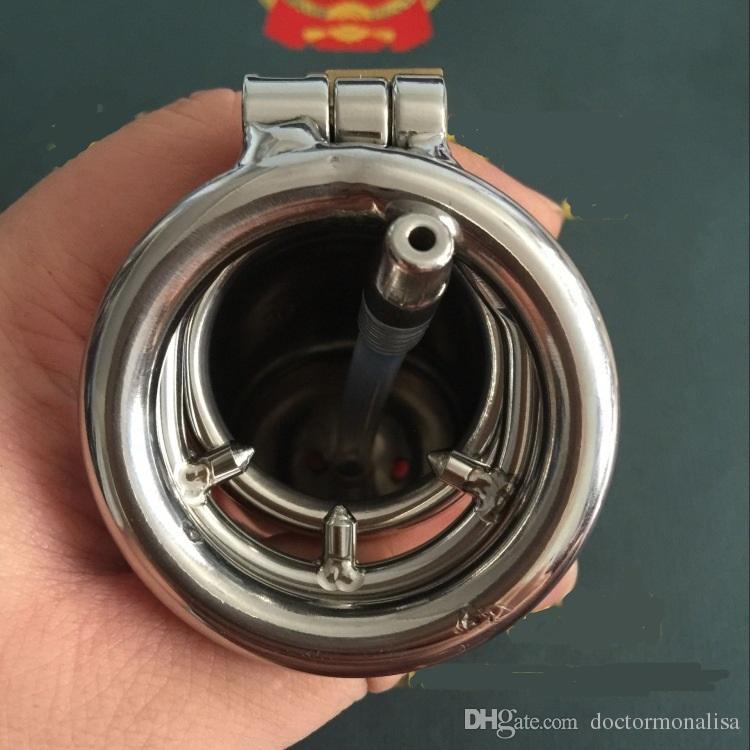 Medico Mona Lisa - maschile Lungo Lid Chastity Cage dispositivo a nastro con catetere uretrale spinato anello in acciaio inox chiuso Tubo BDSM Toys