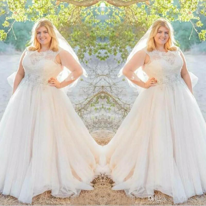 Discount Elegant 2017 Lace Top Tulle Skirt Plus Size Wedding Dresses ...