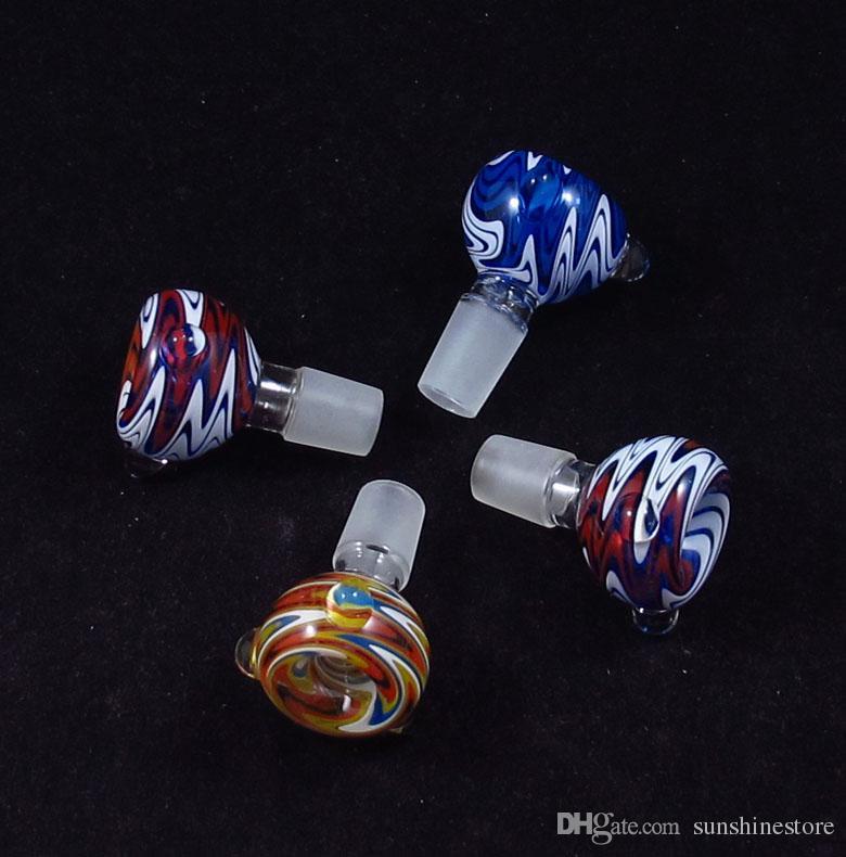 colori misti Tabacco da pipa in vetro Tubo portasapone filtro narghilè Slide bong tubo d'acqua colore USA 14mm19mm
