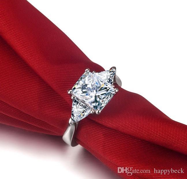 Dossy Jewelry 3Ct diamante sintetico Anello di fidanzamento le donne Solid 925 Sterling Silver Ring Brilliant Forever Jewelry