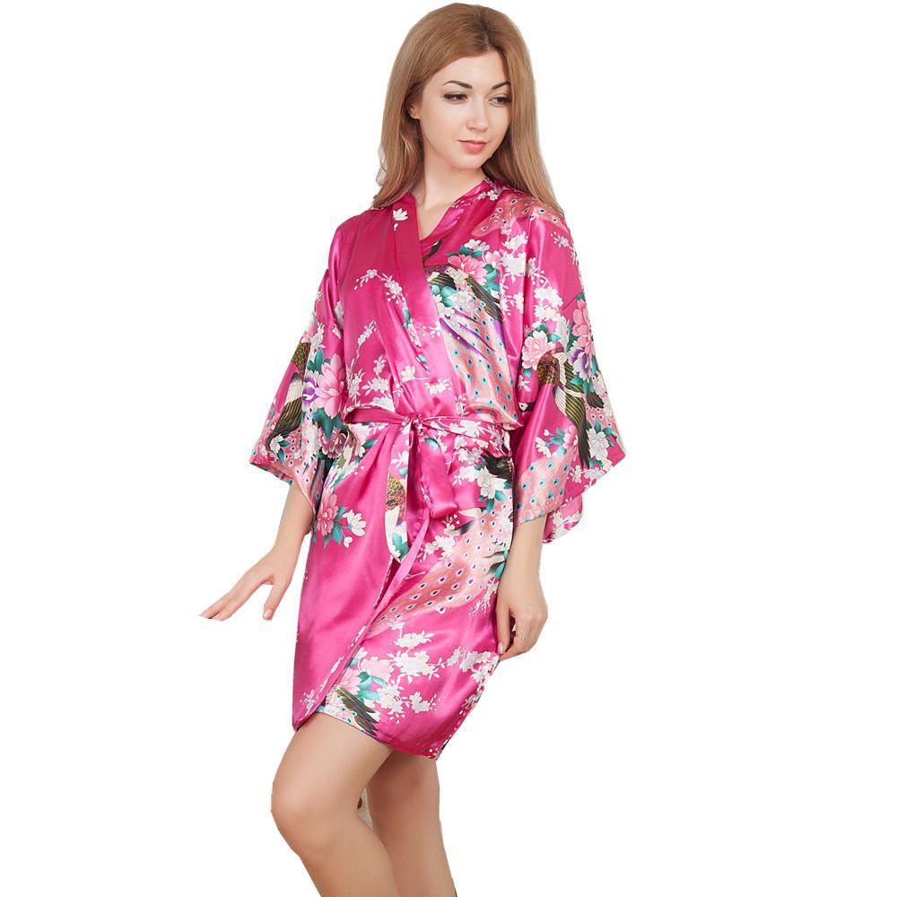Wholesale New Wedding Bride Bridesmaid Robe Floral Bathrobe Short Kimono  Night Robe Bath Robe Fashion Dressing Gown For Women One Size T09 UK 2019  From Hoto ... 6409dcfee