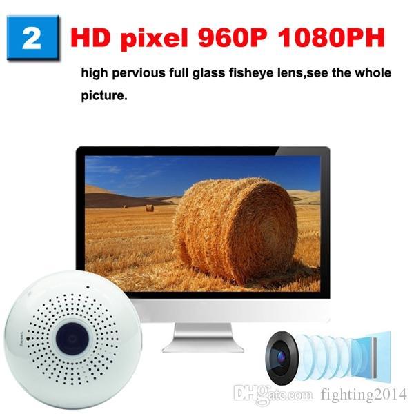 WIFI Bulb Telecamera IP 360 gradi Full HD 1080P VR Telecamera panoramica Fisheye wireless sorveglianza di sicurezza domestica Telecamera TVCC cam Nanny bianco