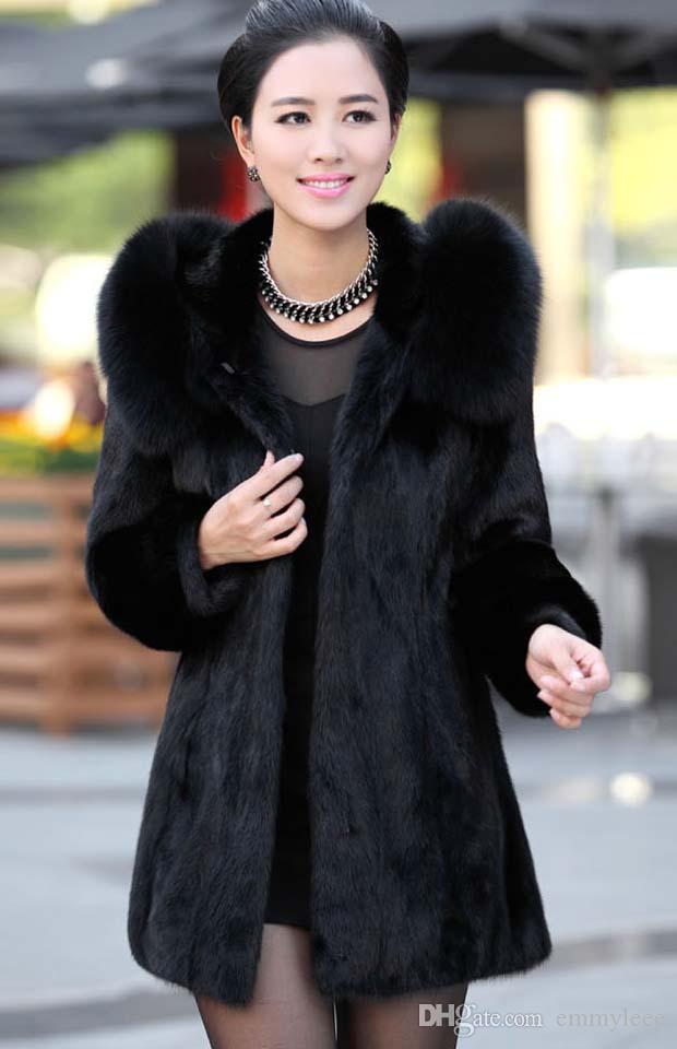 2018 Luxury Women Faux Fur Hooded Coat Fashion Winter Ladies ...
