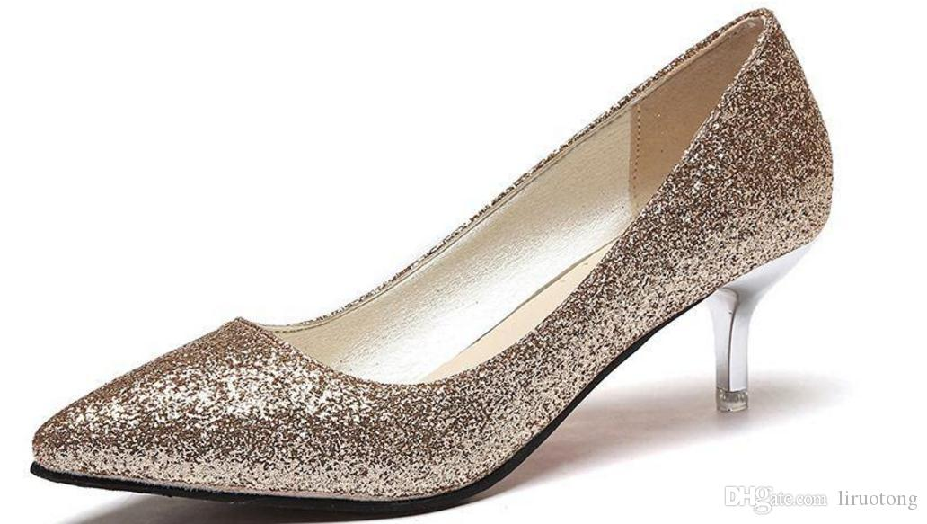 f914308b2552 Gold Silver High Heels Shoes Sequined Dress Shoes Fine Documentary Sexy  Korean Temperament Shoes Red Wedding Shoes Online with $37.13/Pair on  Liruotong's ...