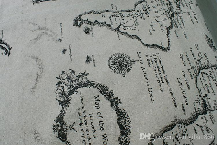 El mapa europeo de alta calidad al por mayor de la venta caliente imprimió el mantel al por mayor del paño del algodón y de lino