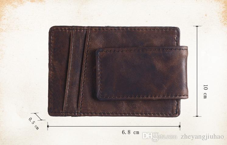 New Genuine leather vintage Magnetic button zero wallet women&men fashion dollars Card Holder brown/light brown color no232