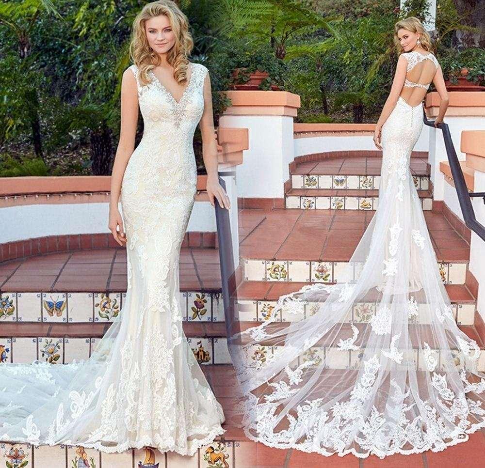 Compre Vestido De Noiva Vestido De Boda Atractivo Del V Cuello Del ...