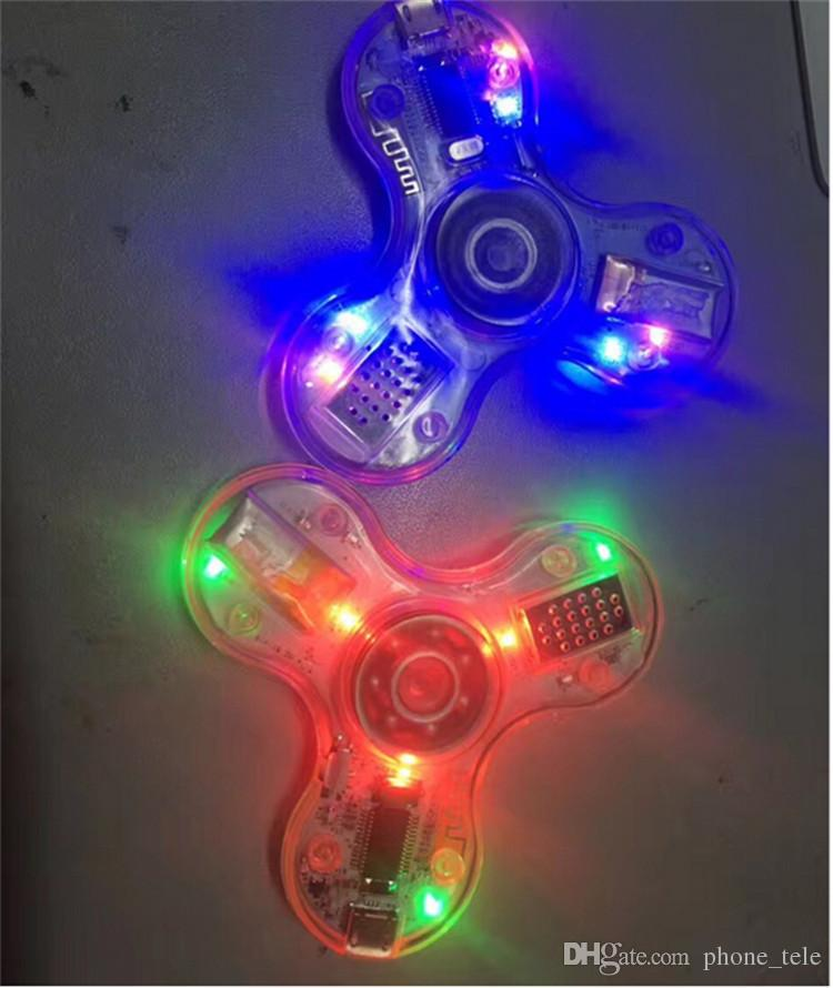 Transparent LED Bluetooth Music Fidget Spinners Speaker luminous Tri Hand Spinners Cube Finger HandSpinner Speakers Decompression Toys Hot