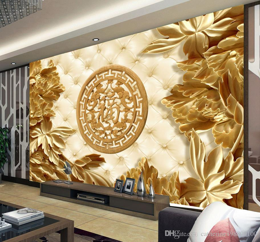 3d Wood Carvings And Rich Living Room Backdrops Mural 3d