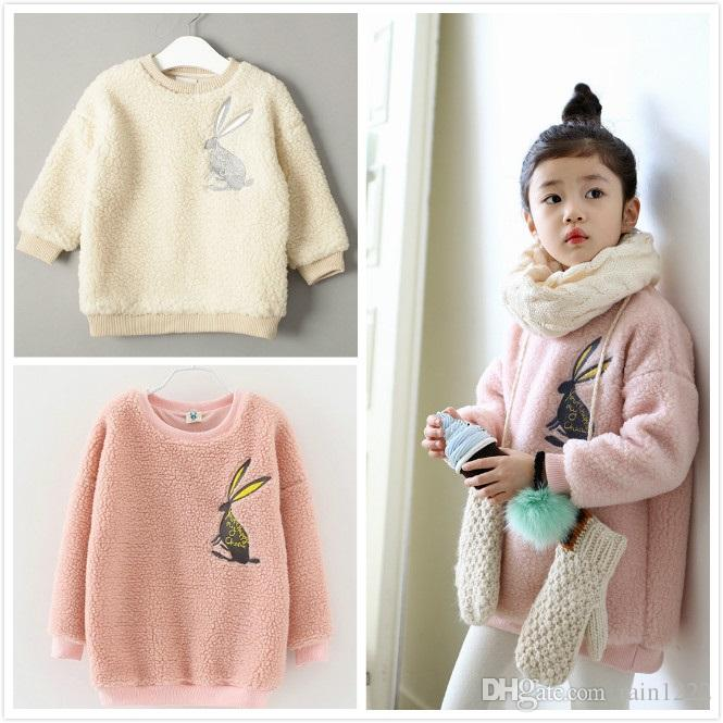 c111dc5d19c3 New Autumn Winter Girls Pink Wool Sweaters Children Warm Coats Kids ...