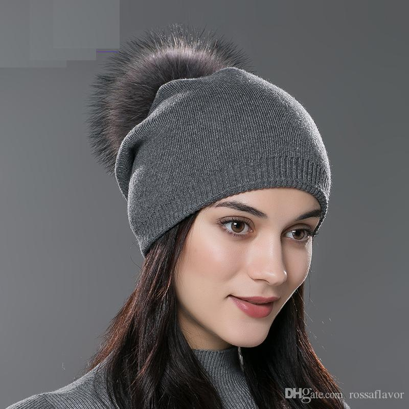 Autumn Winter Beanies Hat Unisex Knitted Wool Skullies Casual Cap ... eab48e98db69