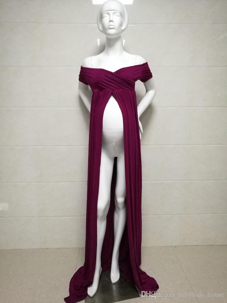 2017 Maternité Photographie Props Fantaisie Robes De Maternité Enceinte Vêtements Maxi Stretch Coton Robe Photographie Robe De Maternité