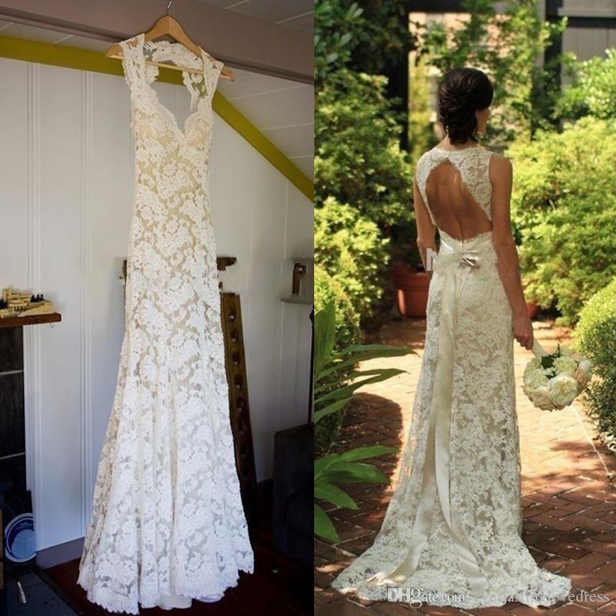 39492eff05a Sheath Column Sleeveless Lace V Neck Sweep Brush Train France Lace  Champagne Wedding Dresses With Color Long Belt Bridal Dress Open Back Wedding  Dress ...