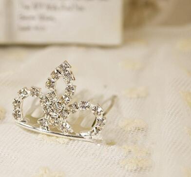 3 * 2cm moda piccoli diademi argento strass metallo pettini capelli bambini accessori capelli le ragazze clip di capelli di cristallo da sposa diadema