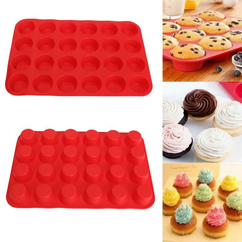 Mini Muffin Cup 24 Cavity Silicone Soap Cookies Cupcake Bakeware Pan Tray Mould Home DIY Cake Tool Mold