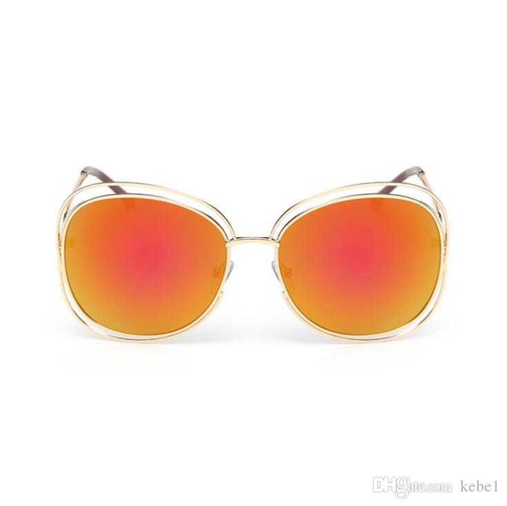 Moda de gran tamaño Oval Wire mujeres Gafas de sol Diseñador de la marca Gran marco de aleación Espejo Lente Gafas de sol UV400 Envío gratis