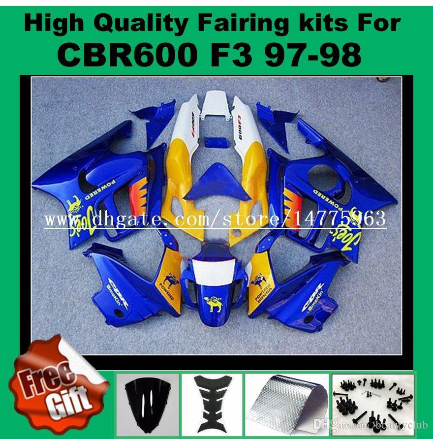 9Gifts Verkleidungssätze für Honda CBR600 F3 Verkleidungssatz CBR 600 F3 1997 1998 CBR 600F3 ABS Verkleidung 97 98 5-Farben zur Auswahl