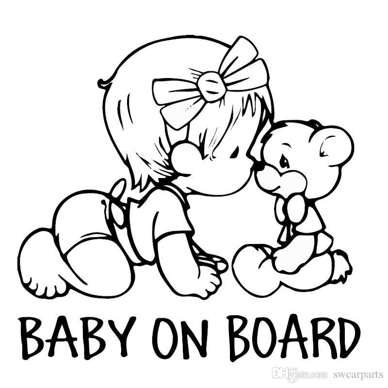 BABY ON BOARD Lovely Bear Car Styling Decals Cartoon Vinyl Car Sticker Black/White
