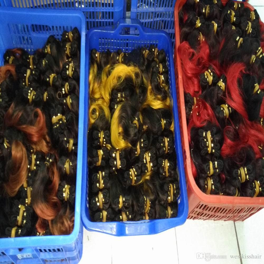Venta caliente Ombre Extensión del cabello humano brasileño 24 unids / lote Bundles Tejidos Venta al por mayor Nueva Venta DHgate