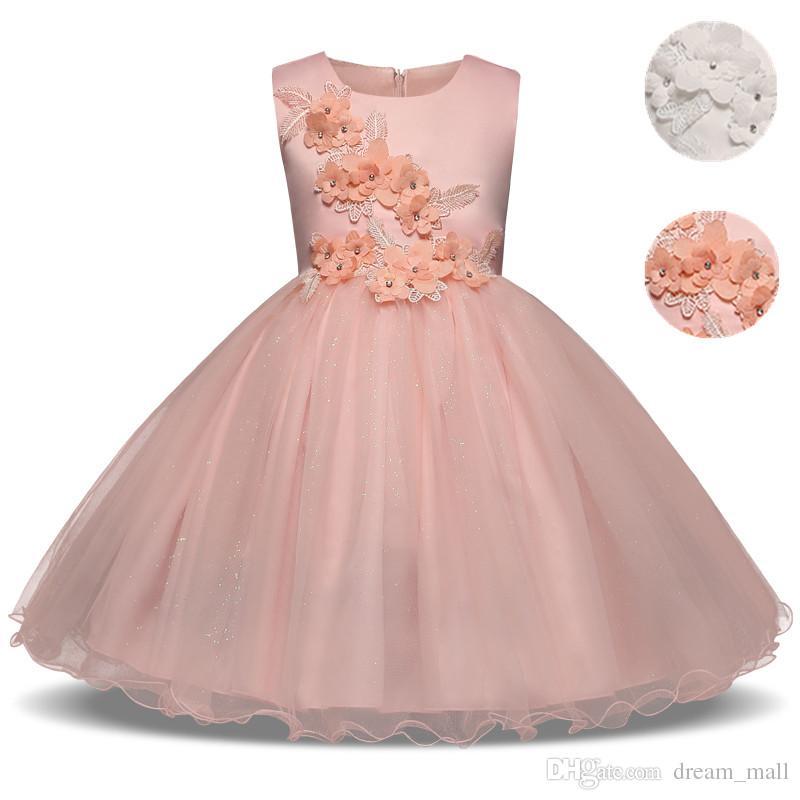 2018 Wedding Flower Girl Dress Princess Tutu Christening Prom Party ...