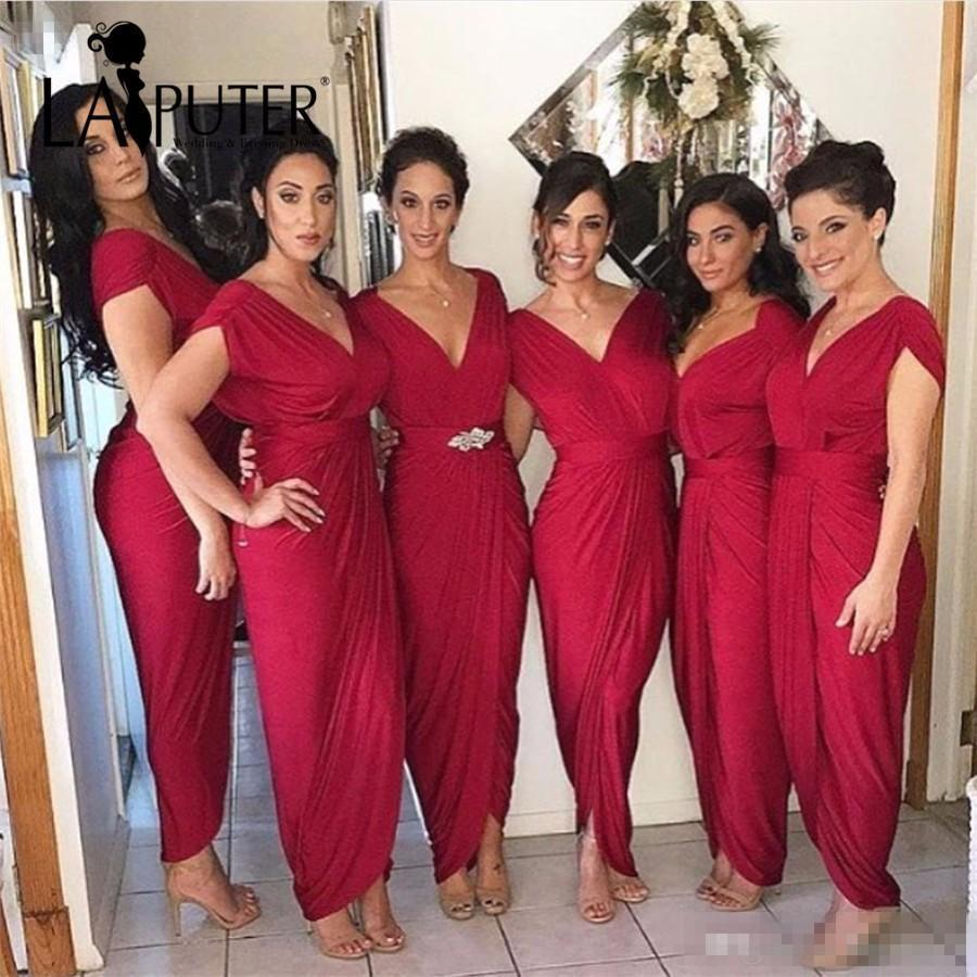 2017 Cheap Long Bridesmaid Dresses For Weddings Cap Sleeves V Neck Chiffon Burgundy Dark Red Long Sheath Plus Size Maid of Honor Gowns