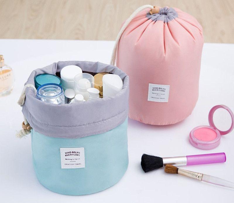 New Korean elegant large capacity Barrel Shaped Nylon Wash Organizer Storage Travel Dresser Pouch Cosmetic Makeup Bag For Women