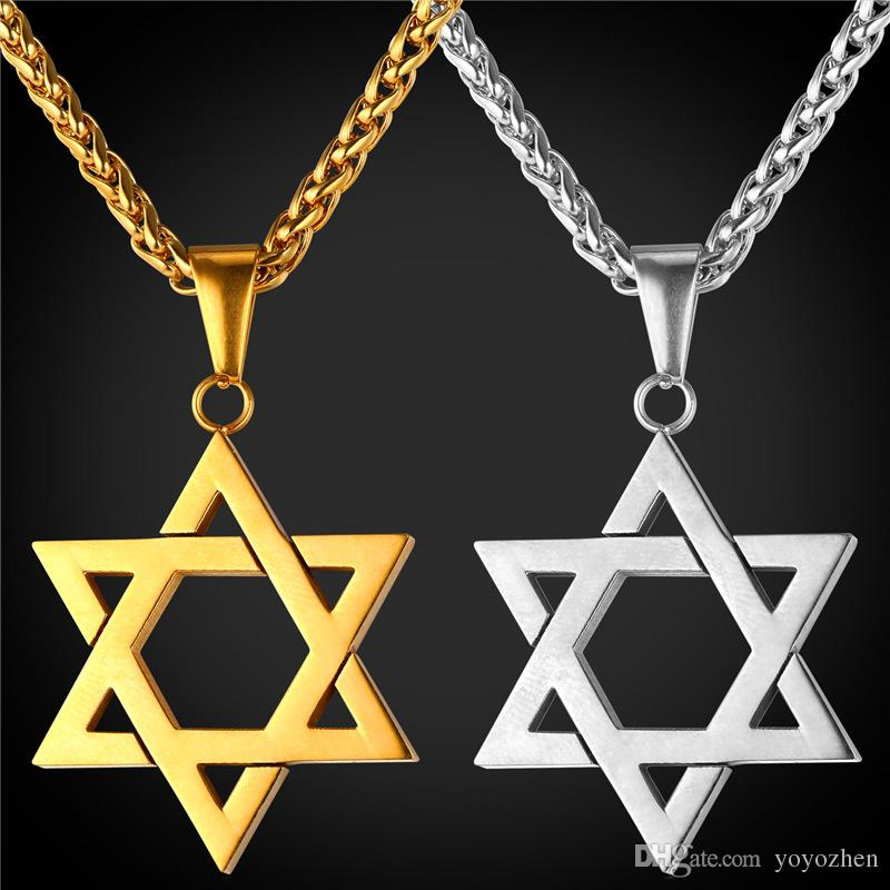 77cfff624e05b Star of David Pendant for Women Men Jewelry 18K Real Gold Plated Stainless  Steel Magen David Necklace Pendant