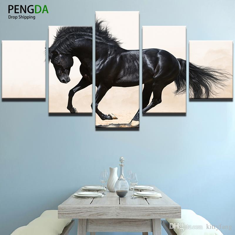 Poster HD Printed Oil Painting Canvas Print Home Decorative Wall Art 5 Panel Running Animal Black Horse Pictures For Room
