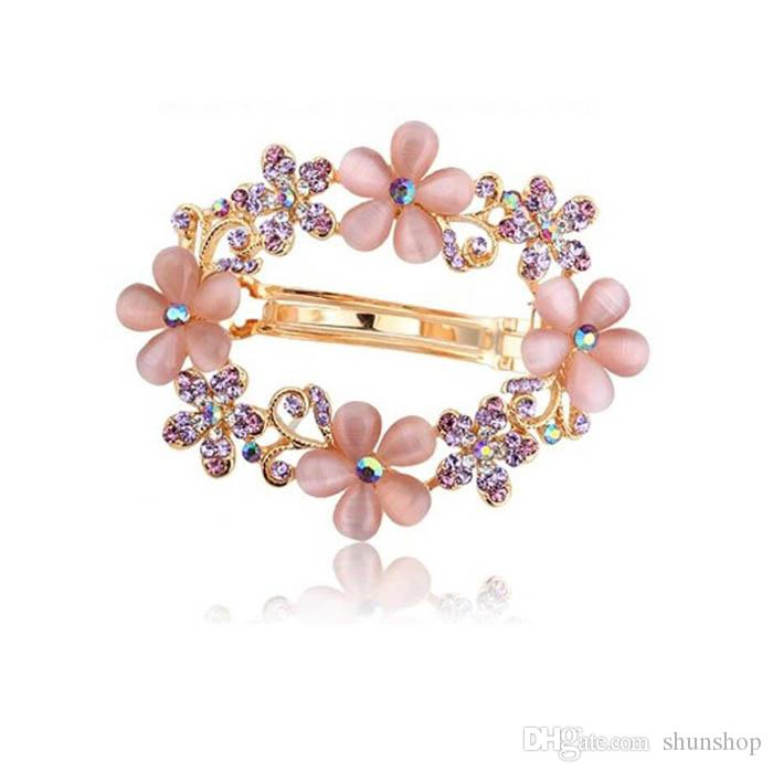 10e3df38d81 Colorful Painted Crystal Flower Hollow Hair Clip Hairpin for Bridal ...