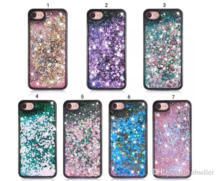 Coração preto Glitter Estrela Quicksand Líquido caso PC tampa borda TPU macio duro para o iPhone 5 6 7 6plus 7plus