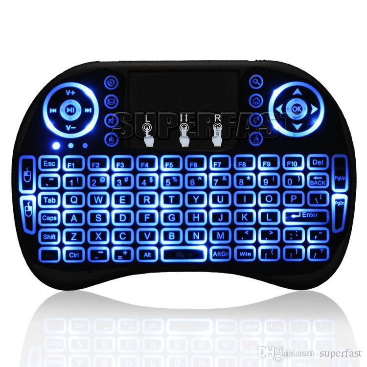 الهواء الماوس لوحة المفاتيح Rii i8 البسيطة لوحة المفاتيح اللاسلكية الروبوت التلفزيون مربع التحكم عن الخلفية لوحة المفاتيح المستخدمة ل S905W S912 في صندوق