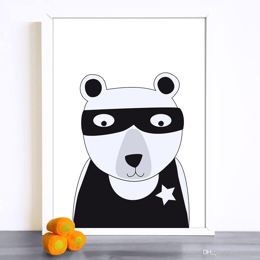 Nordic Art kawaii Cartoon Animal Bear Fox Rabbit Canvas Poster Painting Funny Cartoon Wall Picture Print Children Baby Room Decoration