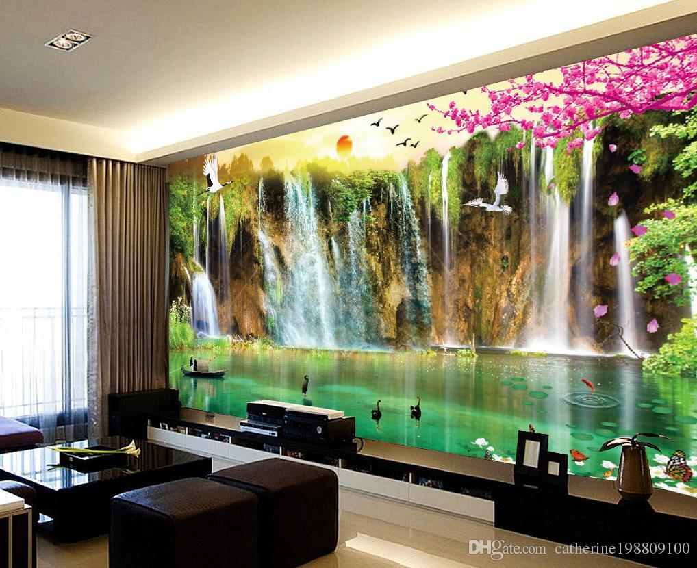 Custom any size scenery wallpaper tv wall mural 3d for Custom mural wallpaper