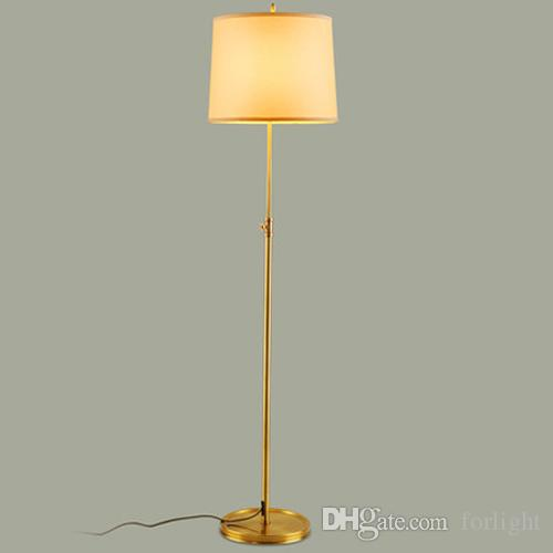 2019 Dimmable Led Floor Lamps Luxury Copper Light Stand Fabric