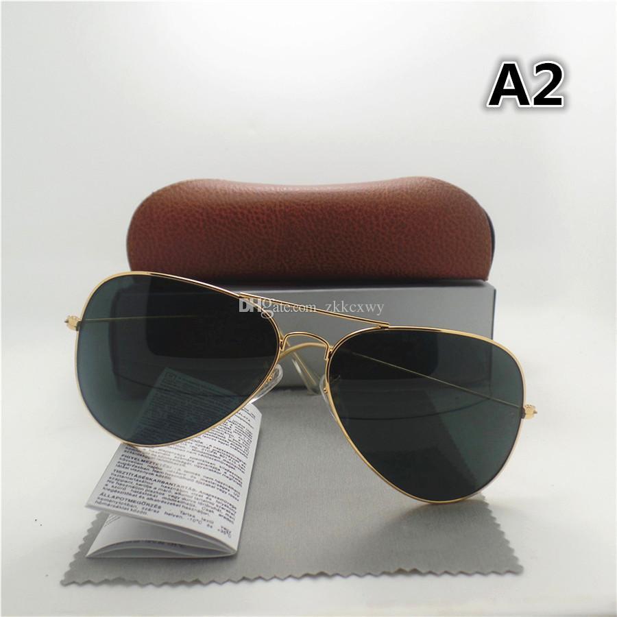 Yüksek Kaliteli Cam Lens Moda Erkekler Ve Kadınlar Pilot Güneş Gözlüğü UV400 Vintage Spor Güneş Gözlükleri Kahverengi Kutusu ile