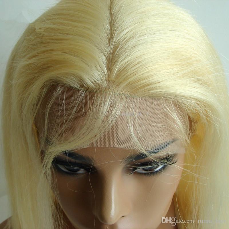 Pre Pluckled Blondes # 613 360 Lace Band Frontal Silk Basis 4x4 mit dem Babyhaar gerade Spitze Frontal Verschluss mit verstellbaren Trägern zum Verkauf