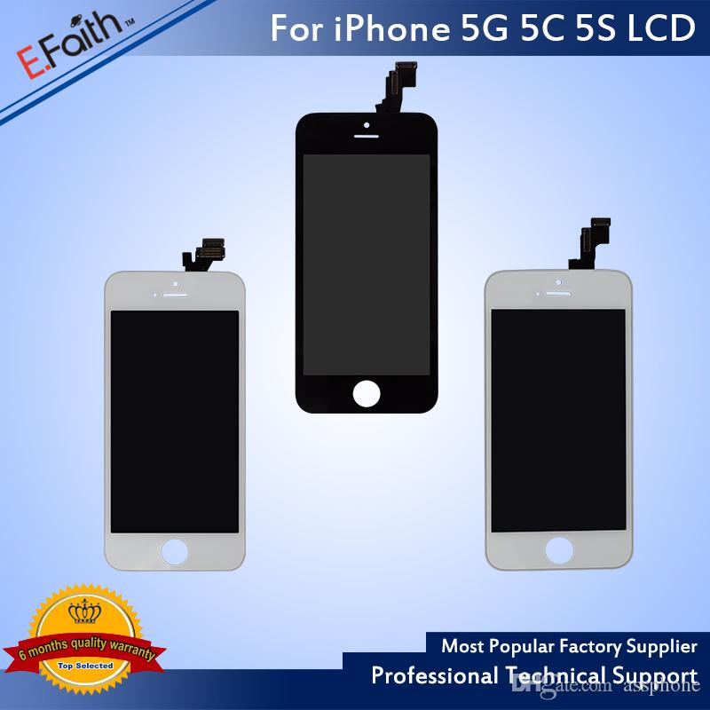 High Quality Tianma Glass For iPhone 5 5G 5C 5S Grade A +++ Black LCD Display With Touch Screen Digitizer & Free DHL Shipping