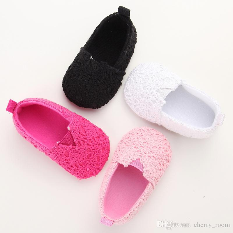 Girls Shoes Autumn Lace Knit Baby First Walkers New Lace Hollow Out Infant Princess Shoe Cute Toddler Flat Shoeses Crochet Shoes C1620