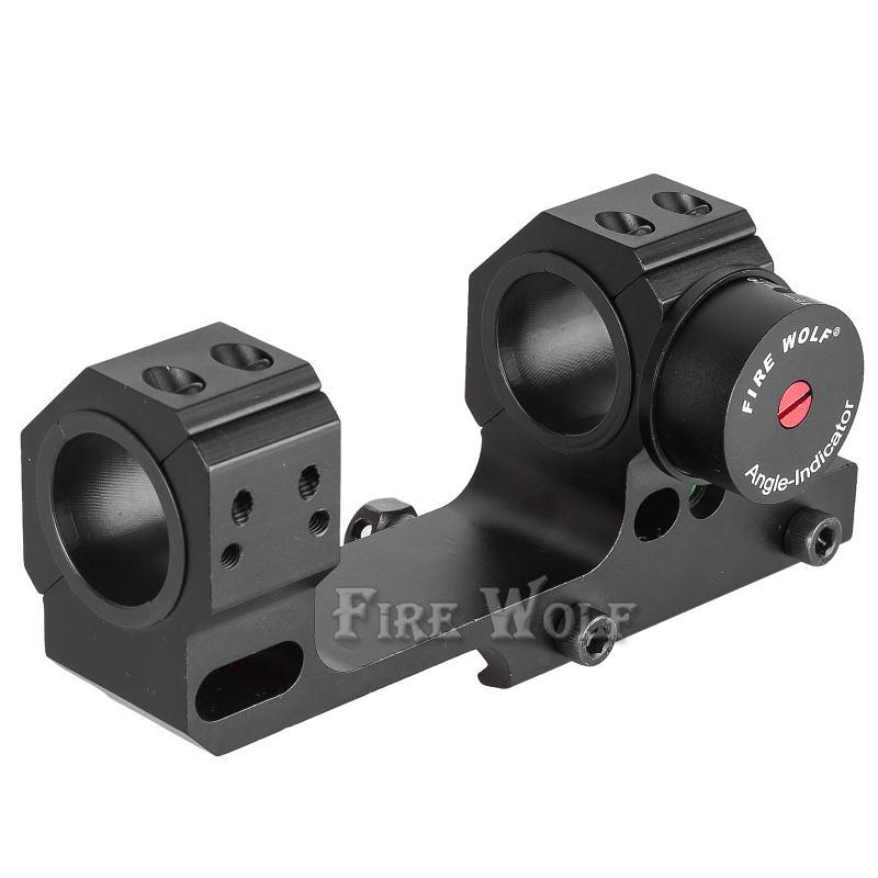 FIRE WOLF 높은 정확도 24.5 / 30mm Universal One-piece Offset Scope 천사 및 레벨 장비가있는 Picatinny 용 이중 링 마운트