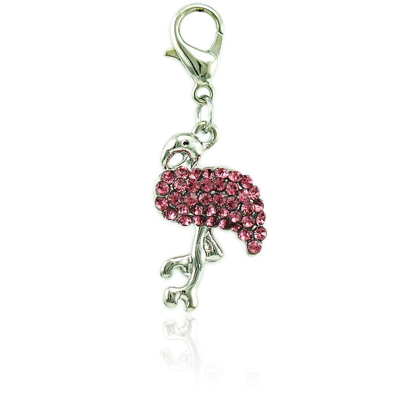 الأزياء العائمة فلامنغو المشبك جراد البحر سحر استرخى الوردي حجر الراين الحيوان المعلقات diy سحر لصنع المجوهرات الملحقات